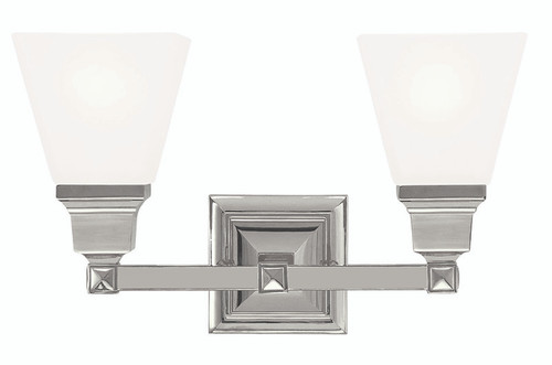 LIVEX Lighting 1032-35 Mission Bath Light in Polished Nickel (2 Light)