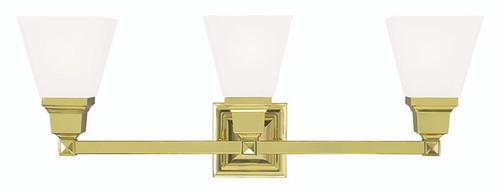 LIVEX Lighting 1033-02 Mission Bath Light in Polished Brass (3 Light)