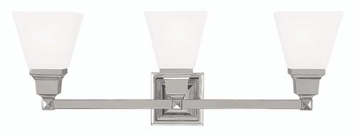 LIVEX Lighting 1033-35 Mission Bath Light in Polished Nickel (3 Light)