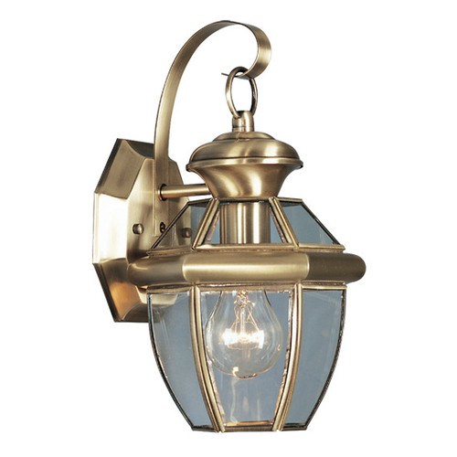 LIVEX Lighting 2051-01 Monterey Outdoor Wall Lantern in Antique Brass (1 Light)