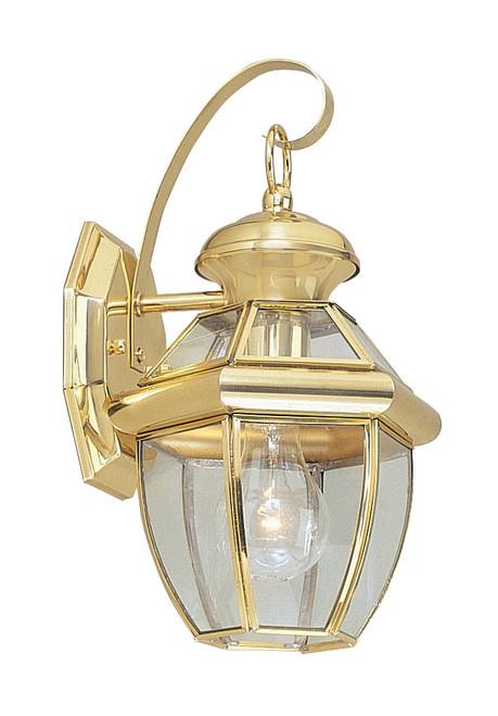 LIVEX Lighting 2051-02 Monterey Outdoor Wall Lantern in Polished Brass (1 Light)