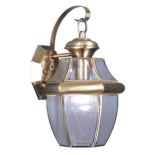 LIVEX Lighting 2151-01 Monterey Outdoor Wall Lantern in Antique Brass (1 Light)