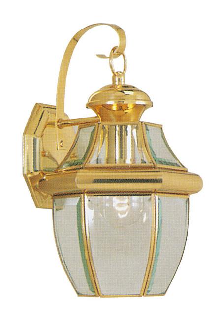 LIVEX Lighting 2151-02 Monterey Outdoor Wall Lantern in Polished Brass (1 Light)