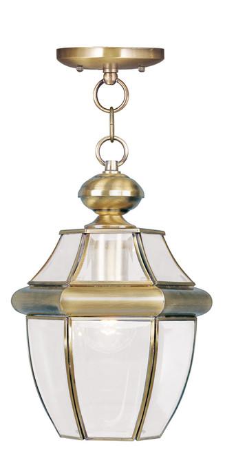 LIVEX Lighting 2152-01 Monterey Outdoor Chain Lantern in Antique Brass (1 Light)