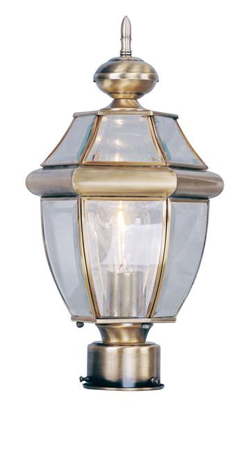 LIVEX Lighting 2153-01 Monterey Outdoor Post Lantern in Antique Brass (1 Light)