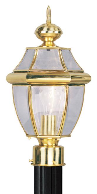 LIVEX Lighting 2153-02 Monterey Outdoor Post Lantern in Polished Brass (1 Light)