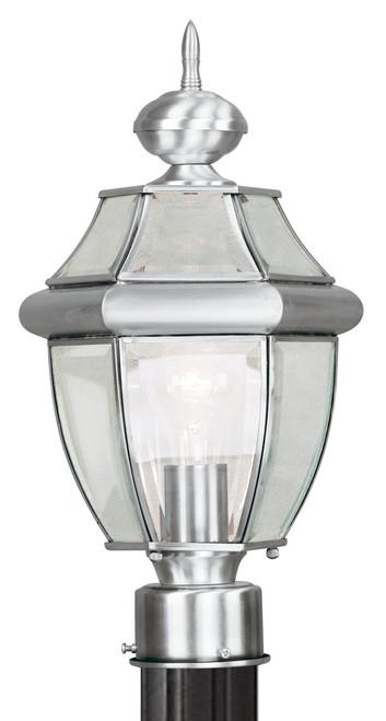 LIVEX Lighting 2153-91 Monterey Outdoor Post Lantern in Brushed Nickel (1 Light)