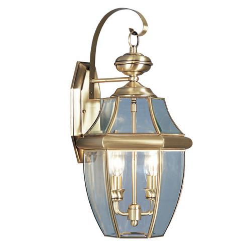 LIVEX Lighting 2251-01 Monterey Outdoor Wall Lantern in Antique Brass (2 Light)