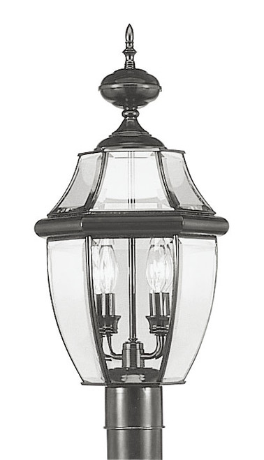 LIVEX Lighting 2254-04 Monterey Outdoor Post Lantern in Black (2 Light)