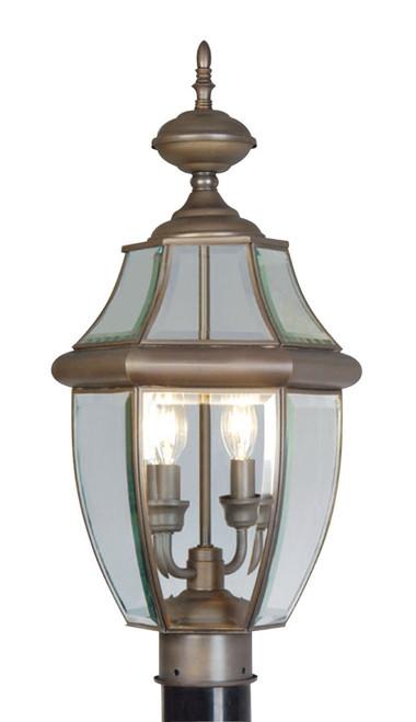 LIVEX Lighting 2254-07 Monterey Outdoor Post Lantern in Bronze (2 Light)