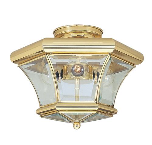 LIVEX Lighting 4083-02 Monterey Flushmount in Polished Brass (3 Light)