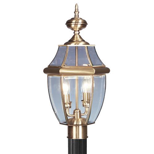 LIVEX Lighting 2254-01 Monterey Outdoor Post Lantern in Antique Brass (2 Light)