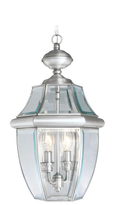 LIVEX Lighting 2255-91 Monterey Outdoor Chain Lantern in Brushed Nickel (2 Light)