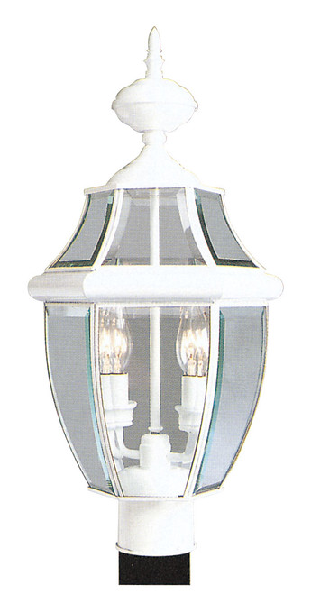 LIVEX Lighting 2254-03 Monterey Outdoor Post Lantern in White (2 Light)