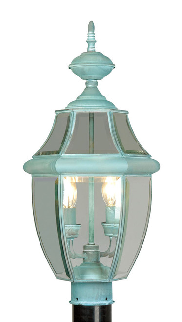 LIVEX Lighting 2254-06 Monterey Outdoor Post Lantern in Verdigris (2 Light)