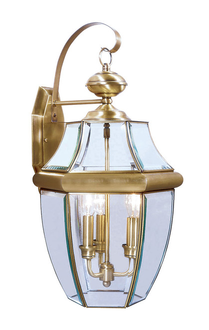 LIVEX Lighting 2351-01 Monterey Outdoor Wall Lantern in Antique Brass (3 Light)