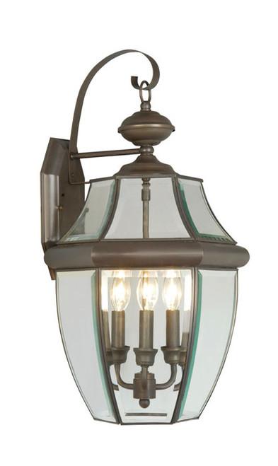 LIVEX Lighting 2351-07 Monterey Outdoor Wall Lantern in Bronze (3 Light)