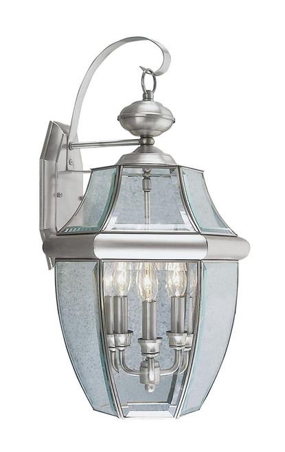 LIVEX Lighting 2351-91 Monterey Outdoor Wall Lantern in Brushed Nickel (3 Light)