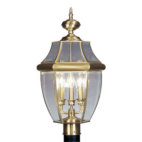 LIVEX Lighting 2354-01 Monterey Outdoor Post Lantern in Antique Brass (3 Light)