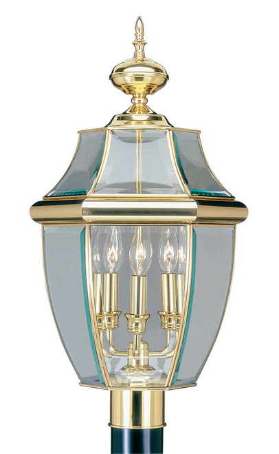 LIVEX Lighting 2354-02 Monterey Outdoor Post Lantern in Polished Brass (3 Light)
