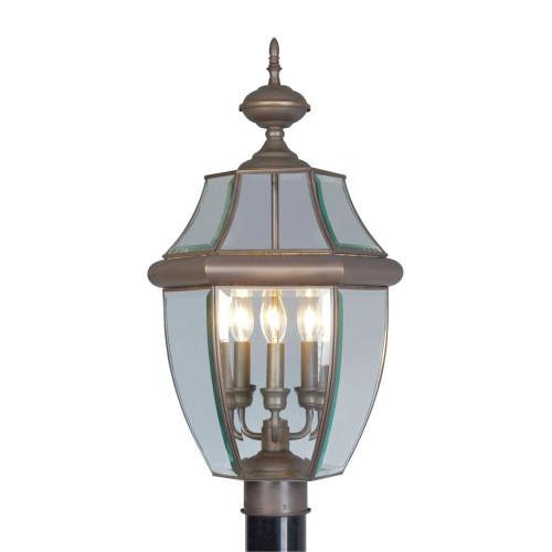 LIVEX Lighting 2354-07 Monterey Outdoor Post Lantern in Bronze (3 Light)