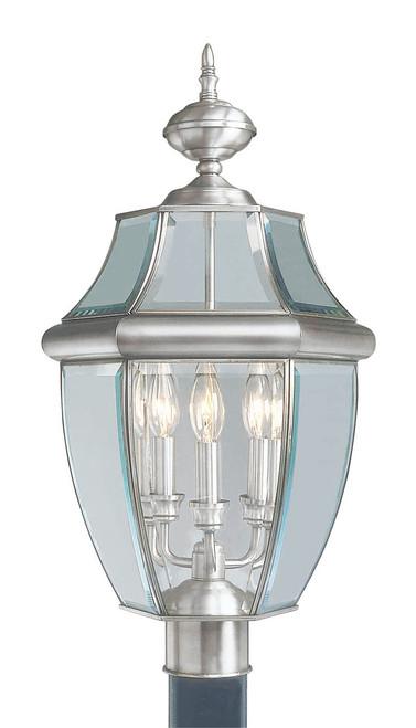 LIVEX Lighting 2354-91 Monterey Outdoor Post Lantern in Brushed Nickel (3 Light)