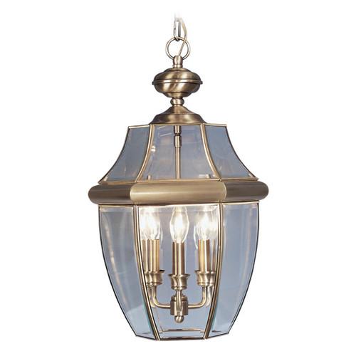 LIVEX Lighting 2355-01 Monterey Outdoor Chain Lantern in Antique Brass (3 Light)