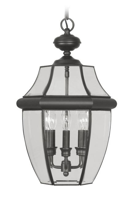 LIVEX Lighting 2355-04 Monterey Outdoor Chain Lantern in Black (3 Light)