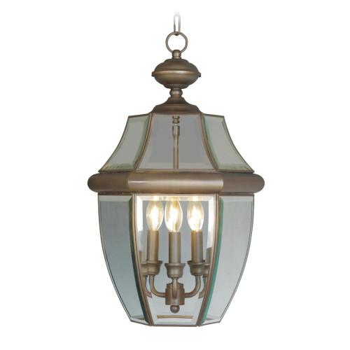 LIVEX Lighting 2355-07 Monterey Outdoor Chain Lantern in Bronze (3 Light)