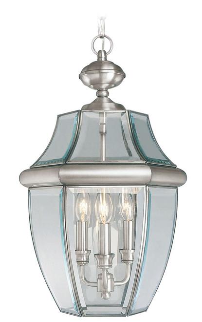 LIVEX Lighting 2355-91 Monterey Outdoor Chain Lantern in Brushed Nickel (3 Light)