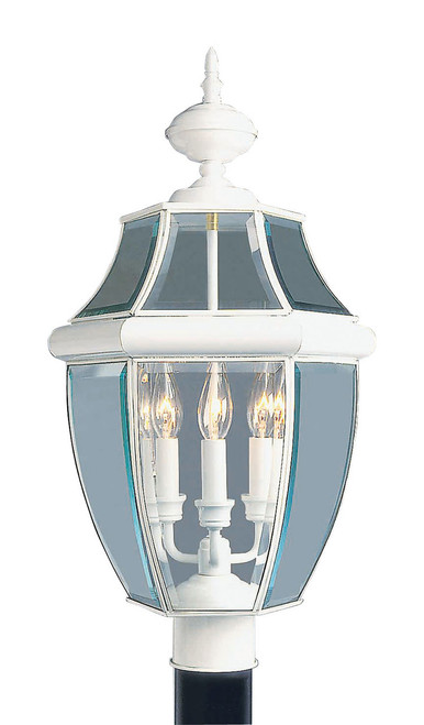 LIVEX Lighting 2354-03 Monterey Outdoor Post Lantern in White (3 Light)
