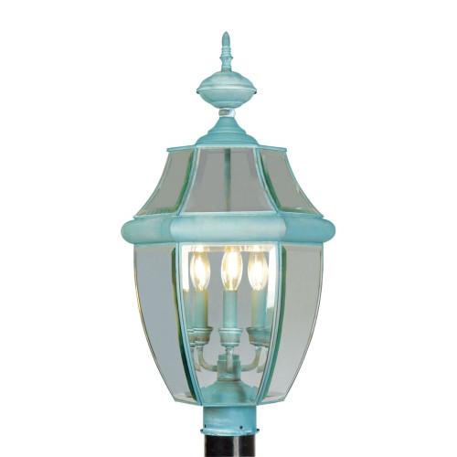 LIVEX Lighting 2354-06 Monterey Outdoor Post Lantern in Verdigris (3 Light)