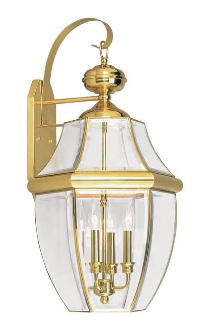 LIVEX Lighting 2356-02 Monterey Outdoor Wall Lantern in Polished Brass (4 Light)