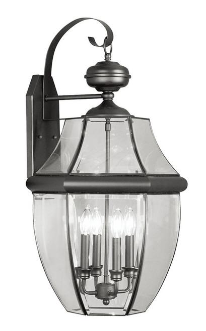 LIVEX Lighting 2356-04 Monterey Outdoor Wall Lantern in Black (4 Light)