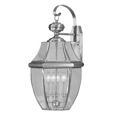 LIVEX Lighting 2356-91 Monterey Outdoor Wall Lantern in Brushed Nickel (4 Light)