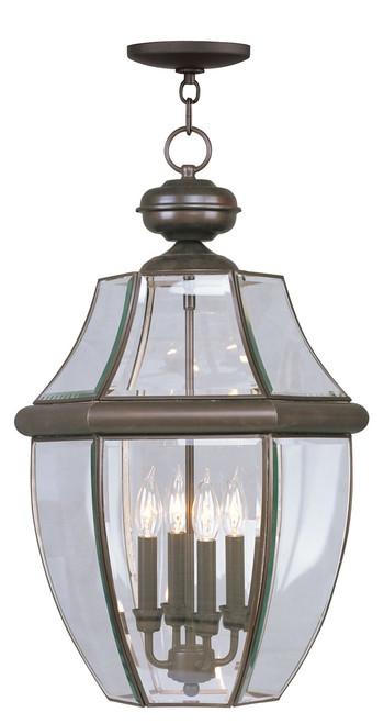 LIVEX Lighting 2357-07 Monterey Outdoor Chain Lantern in Bronze (4 Light)