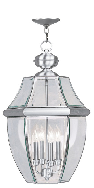 LIVEX Lighting 2357-91 Monterey Outdoor Chain Lantern in Brushed Nickel (4 Light)