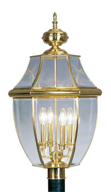 LIVEX Lighting 2358-02 Monterey Outdoor Post Lantern in Polished Brass (4 Light)
