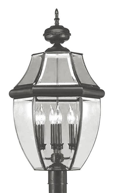 LIVEX Lighting 2358-04 Monterey Outdoor Post Lantern in Black (4 Light)