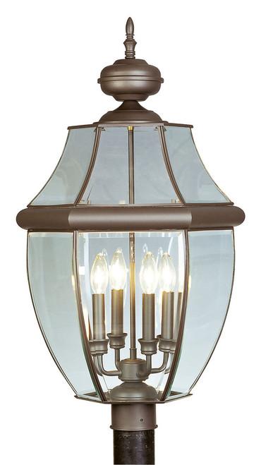 LIVEX Lighting 2358-07 Monterey Outdoor Post Lantern in Bronze (4 Light)