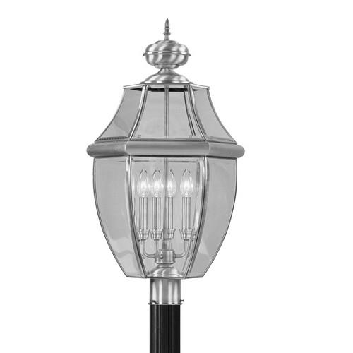 LIVEX Lighting 2358-91 Monterey Outdoor Post Lantern in Brushed Nickel (4 Light)