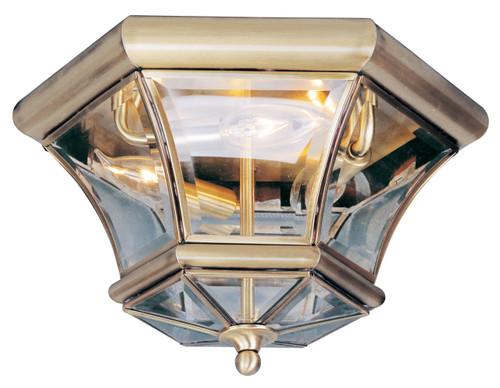 LIVEX Lighting 7053-01 Monterey Georgetown Flushmount in Antique Brass (3 Light)