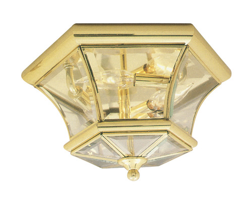 LIVEX Lighting 7053-02 Monterey Georgetown Flushmount in Polished Brass (3 Light)