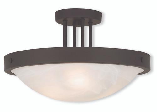 LIVEX Lighting 73956-07 New Brighton Contemporary Flushmount in Bronze (3 Light)