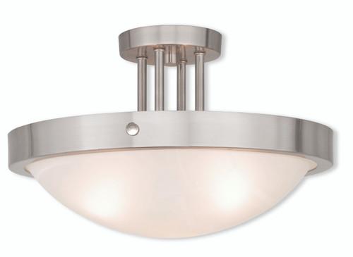 LIVEX Lighting 73956-91 New Brighton Contemporary Flushmount in Brushed Nickel (3 Light)
