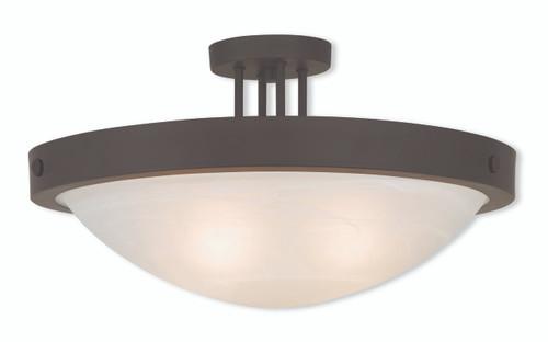 LIVEX Lighting 73957-07 New Brighton Contemporary Flushmount in Bronze (4 Light)