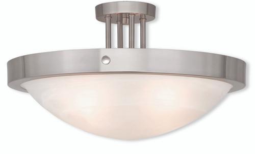 LIVEX Lighting 73957-91 New Brighton Contemporary Flushmount in Brushed Nickel (4 Light)