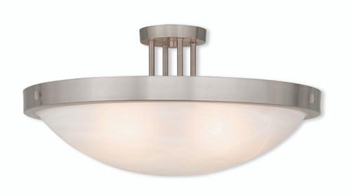 LIVEX Lighting 73958-91 New Brighton Contemporary Flushmount in Brushed Nickel (5 Light)