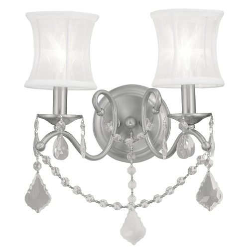 LIVEX Lighting 6302-91 Newcastle Wall Sconce in Brushed Nickel (2 Light)