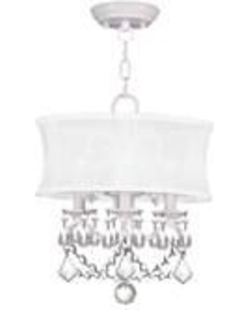 LIVEX Lighting 6303-03 Newcastle Convertible Chain Hung/Flushmount in White (3 Light)
